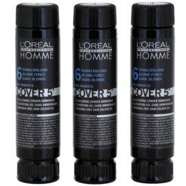 L'Oréal Professionnel Homme Color barva za lase 3 kos odtenek 6 Dark Blond  3x50 ml