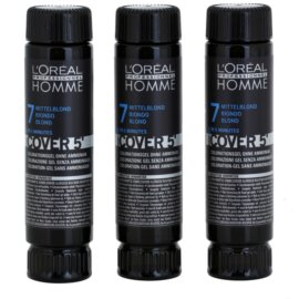 L'Oréal Professionnel Homme Cover 5' Getinte Haarkleuring  3st. Tint  7 Blond  3x50 ml