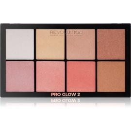 Makeup Revolution Pro Glow 2 paleta osvetljevalcev 8 x 2,5 g