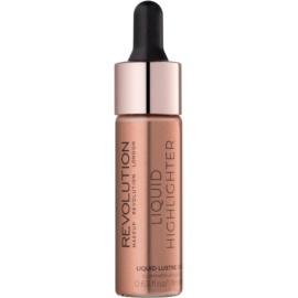 Makeup Revolution Liquid Highlighter iluminator lichid culoare Liquid Lustre Gold 18 ml