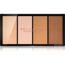 Makeup Revolution Reloaded paleta osvetljevalcev odtenek Lustre Lights Warm 4 x 5 g