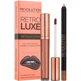 Makeup Revolution Retro Luxe set ruj metalic culoare Sovereign 5,5 ml