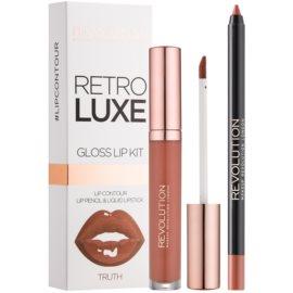 Makeup Revolution Retro Luxe set îngrijire buze culoare Truth 5,5 ml