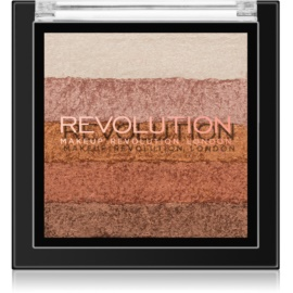 Makeup Revolution Shimmer Brick Bronzer and Highlighter 2 In 1 Shade Bronze Kiss 7 g