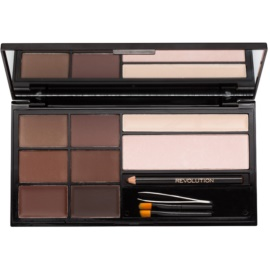 Makeup Revolution Ultra Brow paleta za ličenje obrvi odtenek Medium to Dark  18 g