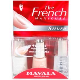 Mavala French Manicure Silver комплект за френски маникюр цвят No. 22 Geneve + No. 90 Arosa + Minute Quick-Finish 3 x 5 мл.