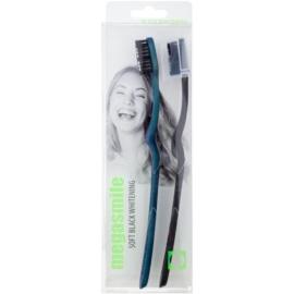 Megasmile Black Whitening Soft zubná kefka s aktívnym uhlím pre citlivé zuby  2 ks