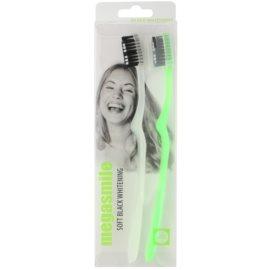 Megasmile Black Whitening Soft cepillo de dientes con carbón activado para dientes sensibles  2 ud