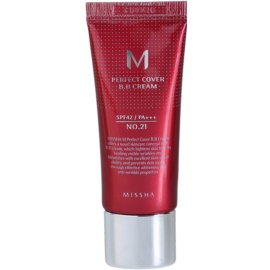 Missha M Perfect Cover crema BB cu protectie ridicata si filtru UV pachet mic culoare No. 21 Light Beige SPF 42/PA+++ 20 ml