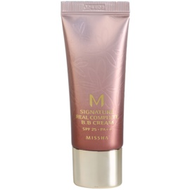 Missha M Signature Real Complete Crema BB ce ofera aspect perfect pielii mini culoare No. 21 Light Pink Beige SPF25/PA++   20 g