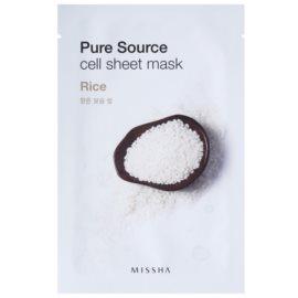Missha Pure Source plátýnková maska se zjemňujícím účinkem Rice 21 g