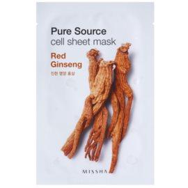 Missha Pure Source mascarilla hoja con efecto energizante Red Ginseng 21 g