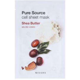 Missha Pure Source plátýnková maska s vysoce hydratačním a vyživujícím účinkem Shea Butter 21 g
