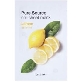 Missha Pure Source Zellschichtmaske mit erfrischender Wirkung Lemon 21 g