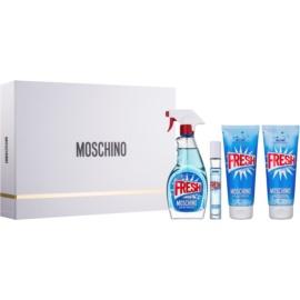 Moschino Fresh Couture darčeková sada V.  toaletná voda 100 ml + toaletná voda roll-on 10 ml + sprchový a kúpeľový gél 100 ml + telové mlieko 100 ml