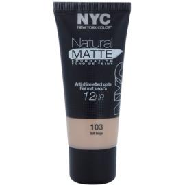 NYC Natural Matte 12H folyékon make-up a fénylő bőr ellen árnyalat 103 Soft Beige 30 ml