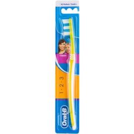 Oral B 1-2-3 Classic Care cepillo de dientes medio Yellow