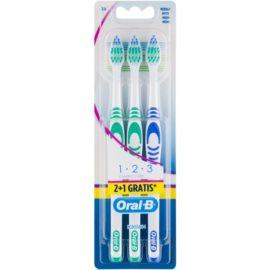 Oral B 1-2-3 Classic Care zubní kartáčky medium 3 ks Green & Green & Blue
