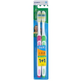 Oral B 1-2-3 Maxi Clean Zahnbürste Medium 2 pc Pink & Green