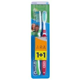 Oral B 1-2-3 Natural Fresh periuta de dinti Medium 2 pc Green & Dark Red