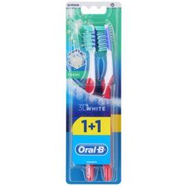 Oral B 3D White Fresh zubní kartáčky medium 2 ks Dark Pink & Dark Pink