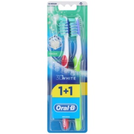 Oral B 3D White Fresh zubní kartáčky medium 2 ks Dark Pink & Green