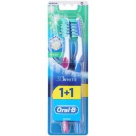 Oral B 3D White Fresh Zahnbürste Medium 2 pc Violet & Blue