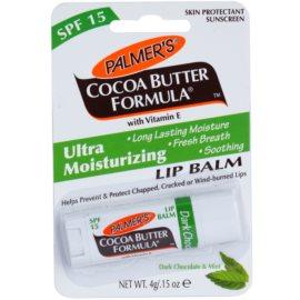 Palmer's Face & Lip Cocoa Butter Formula зволожуючий бальзам для губ SPF 15 присмак Dark Chocolate & Mint  4 гр