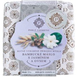 Perlé Cosmetic Natural ručně vyráběné mýdlo bambucké máslo s jasmínem a ovsem  115 g