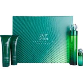 Perry Ellis 360° Green ajándékszett I.  Eau de Toilette 100 ml + tusfürdő gél 90 ml + borotválkozás utáni balzsam 90 ml + Eau de Toilette 7,5 ml
