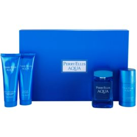 Perry Ellis Aqua set cadou I. Apa de Toaleta 100 ml + Gel de dus 90 ml + gel dupa ras 90 ml + Deostick 78 g