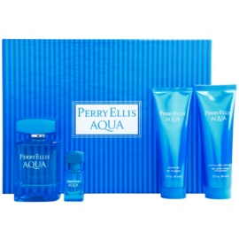 Perry Ellis Aqua set cadou II.  Apa de Toaleta 100 ml + Apa de Toaleta 7,5 ml + Gel de dus 90 ml + gel dupa ras 90 ml