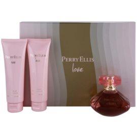 Perry Ellis Love darčeková sada  parfémovaná voda 100 ml + telové mlieko 90 ml + sprchový gel 90 ml