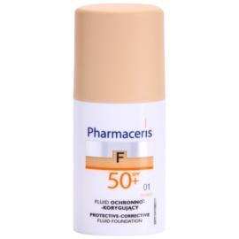 Pharmaceris F-Fluid Foundation capac de protectie pentru machiaj SPF50+ culoare 01 Ivory  30 ml