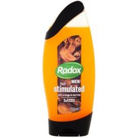 Radox Men Feel Stimulated gel za prhanje in šampon 2v1 Orange & Tea Tree 250 ml