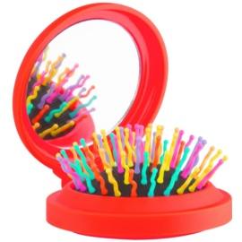 Rainbow Brush Pocket escova de cabelo com espelho pequeno Orange