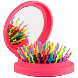 Rainbow Brush Pocket escova de cabelo com espelho pequeno Pink