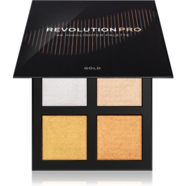 Revolution PRO 4K Highlighter Palette paleta de iluminadores tono Gold 4 x 4 g