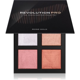 Revolution PRO 4K Highlighter Palette paleta de iluminadores tono Rose Gold 4 x 4 g