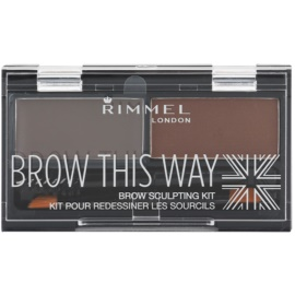Rimmel Brow This Way paleta para maquilhagem de sobrancelhas Dark Brown 2,4 g