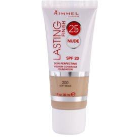 Rimmel Lasting Finish 25H Nude стійкий тональний крем SPF 20 відтінок 200 Soft Beige  30 мл