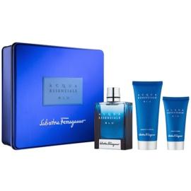 Salvatore Ferragamo Acqua Essenziale Blu darilni set V.  toaletna voda 100 ml + balzam za po britju 50 ml + gel za prhanje 100 ml
