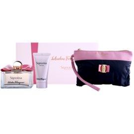 Salvatore Ferragamo Signorina Geschenkset III. Eau de Parfum 100 ml + Körperlotion 50 ml + Kosmetiktasche 1 ks