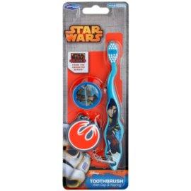 SmileGuard Star Wars Fogkefe gyerekeknek, utazó fogkefe fej sapkával és kulcstartóval gyenge