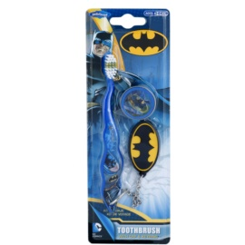SmileGuard Batman escova de dentes para crianças com tampa de viagem e porta-chaves soft