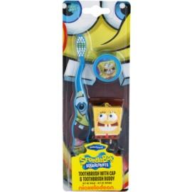 SmileGuard SpongeBob Kinderzahnbürste mit Schutzkappe und Schlüsselanhänger weich