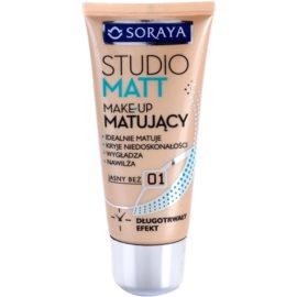 Soraya Studio Matt podkład matujący podkład matujący z witaminą E odcień 01 Light Beige  30 ml
