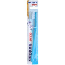 Spokar Orto Zahnbürste für die Benutzer fester Klammern weich Blue