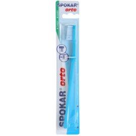 Spokar Orto escova de dentes para usuários de aparelho fixo dura Blue