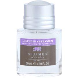 St. James Of London Lavender & Geranium borotválkozás utáni gél férfiaknak 50 ml doboz nélkül utazási csomag